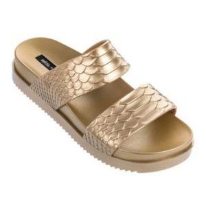 Melissa Cosmic Gold Slide Sandals Baja East NEW